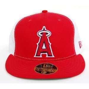 MLB Anaheim Angels New Era 59Fifty Red White Fitted Trucker Hat Cap