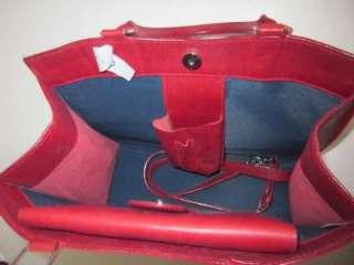 Authentic Dooney Bourke Red Leather tote bag handbag