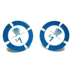 Wynn Las Vegas Casino Blue Poker Chip Cufflinks Jewelry