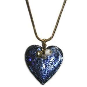 Blue Heart Charm Necklace 14K Gold Plate Snake Chain Lampwork Glass