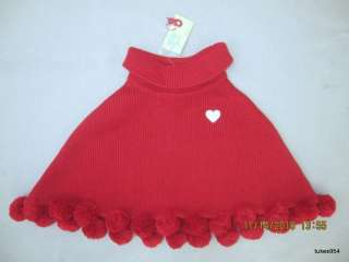 Gymboree Tiger Love Club Red Heart Sweater Cape 7 8 NWT