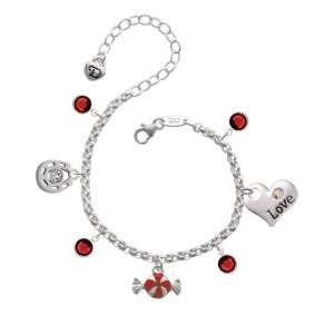 Red Peppermint Candy Love & Luck Charm Bracelet with Siam Swarovsk