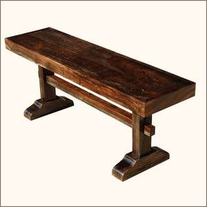 Wood Rustic Wooden Backless Bench Outdoor Garden Furniture