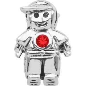 Persona Sterling Silver July Birthstone Charm Boy Charm fits Pandora