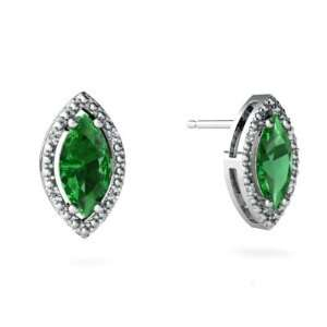 14K White Gold Marquise Created Emerald Earrings Jewelry