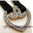AUTHENTIC CHANEL CC Logo Heart Gold Crystal Charm NECKLACE/BRACELET