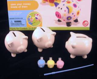 Paint Your Own 3 Little Pigs Piggy Banks Kids Family Craft Kit NEW