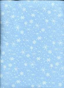 SMALL WHITE SNOWFLAKES LIGHT BLUE Cotton Quilt Fabric