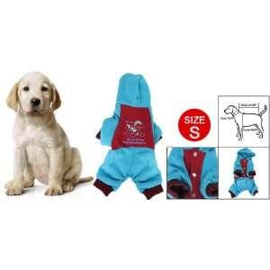Como Rabbit Print Press Button Closure Pet Dog Hooded Clothes Red Blue