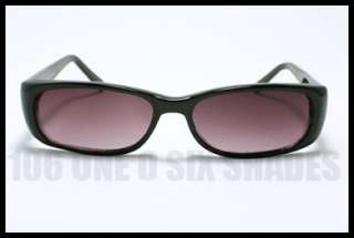SMALL Sunglasses for Men and Women Rectangle Shape Plastic Frame BLACK