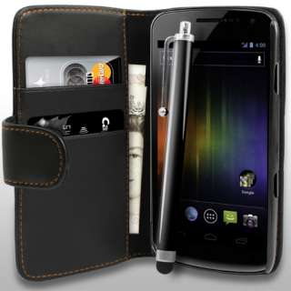 AIO Black Wallet Leather Case For Samsung Galaxy Nexus i9250 + Stylus