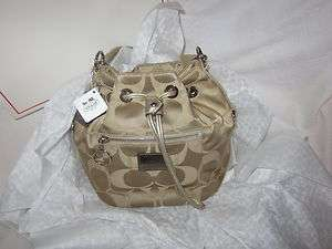 COACH POPPY CINCH SAK SIGNATURE PRINT AUTHENTIC COACH METALLIC GOLD