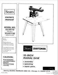 Craftsman Radial Arm Saw Manual Model # 113.19770