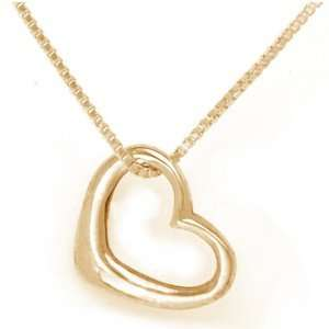 14k Yellow Gold Floating Heart Pendant with Chain Sea of