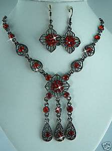 RED AUSTRIAN CRYSTAL NECKLACE EARRING SET