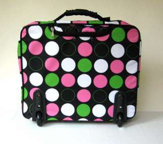 16 Computer/Laptop Briefcase Rolling Padded Bag/Wheel Pink Polka Dots
