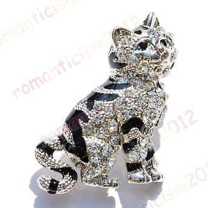 Free cat Brooch Pin W Czech rhinestone&enamel
