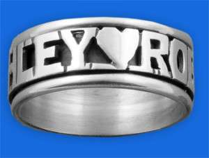 Personalized Sterling Silver Spinner Name Ring Heart