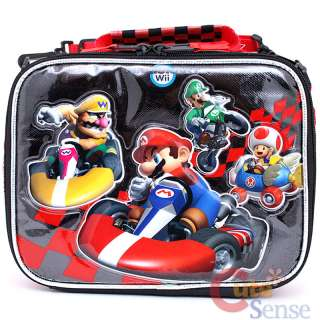 Super Mario Wii Kart Large School Roller Backpack Lunch Box Bag Set