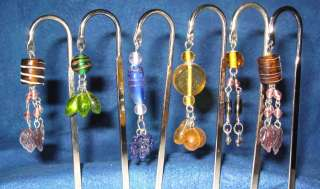 Metal Silver Hook Bookmark with Charm & Beads