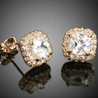 Swarovski Crystal rose gold GP square Earring studs a767