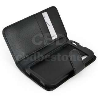 Black Leather Wallet Flip Case Cover for LG Optimus Black P970