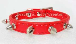 Pu Leather Spiked Studded Dog Puppy Collars Small Dog Collars Pink