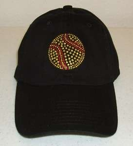 SOFTBALL Rhinestone Ladies Ballcap Hat