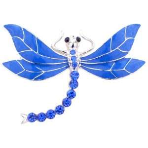 Dragonfly Austrian Crystal Blue Enamel Wing Insect Pin Brooch Jewelry
