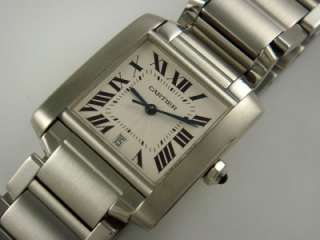TANK FRANCAISE MENS LARGE STAINLESS STEEL WHITE DIAL AUTOMATIC WATCH
