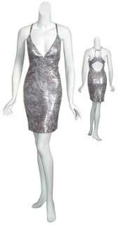 NICOLE MILLER Glamorous Charcoal Print Sequin Racerback Cocktail Dress