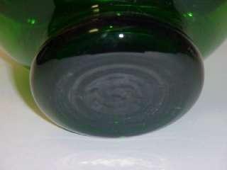 GREEN GLASS VASE ITALY 13 TALL