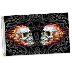 3 X 5 Mirror Skull Flag, 100% Polyester Everything Else