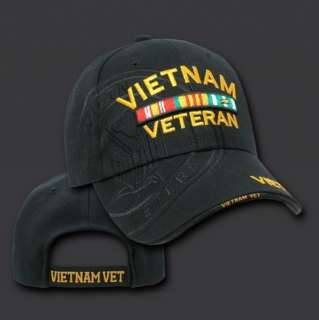 Black Vietnam Veteran Vet War Army Military Shadow Baseball Cap Hat