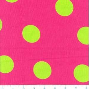 Dots Hot Pink & Lime Fabric By The Yard Arts, Crafts & Sewing