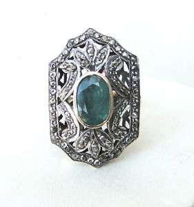 VICTORIAN DIAMOND NATURAL EMERALD GOLD SILVER RING IND
