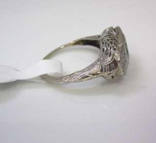 DETAILED ANTIQUE ART DECO EMERALD DIAMOND FILIGREE 18K WHITE GOLD RING