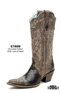 Corral Womens Leather Western Boots Chocolate Python Lace/Heart C1609