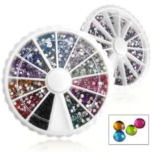 2000X Nail Art Tips Glitter Rhinestone Decoration+Wheel