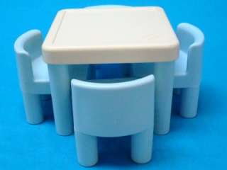... VTG LITTLE TIKES DOLL HOUSE BLUE KITCHEN TABLE u0026 4 CHAIRS SET ... & Little Tikes Doll House Size Picnic Table