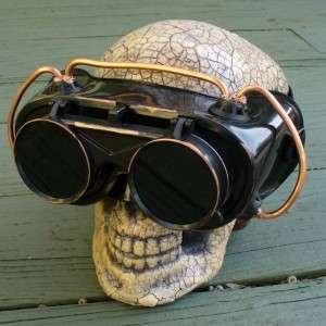 Steampunk Goggles Glasses cyber lens goth Victorian blk biker