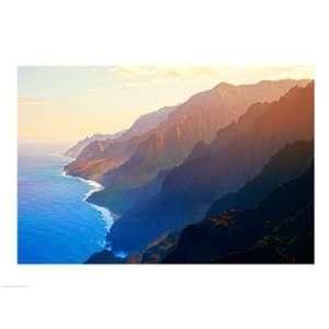 Mountain range at sunrise, Na Pali Coast, Kauai, Hawaii, USA Poster