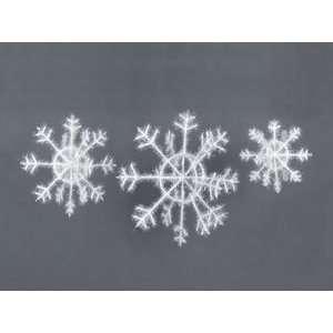 18 Fuzzy Outdoor White Snowflake Christmas Ornaments