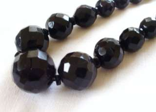 Victorian Original Carved Real Whitby Jet Graduated Bead Necklace