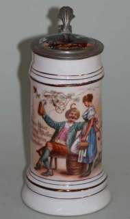 LIDDED PORCELAIN BEER STEIN w. BOTTOM PICTURE c. 1860