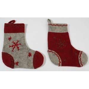 Vintage Look Felt Stockings with Whip Stitched Snowflakes