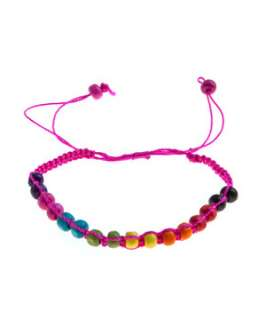 Mid Pink (Pink) Teens Pink Rainbow Bead Friendship Bracelet