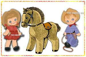 Vintage Cowboy, Cowgirl & Pony Rag Dolls patterns