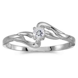 14k White Gold April Birthstone Round White Topaz Ring Jewelry