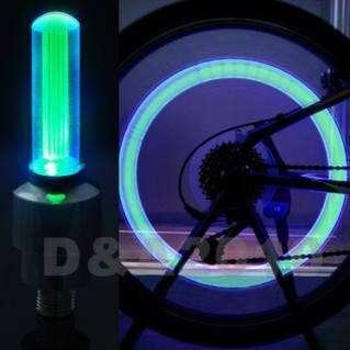 Cycling Motor Car Tire Spoke Wheel Alarm LED Green Light Lamp flash